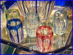 Carafe Plateau et Verres Art Déco en Cristal de St Louis