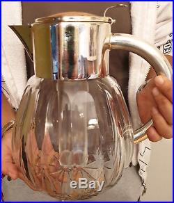 Carafe a orangeade en cristal Saint Louis et métal argenté