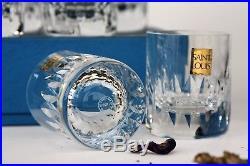 Coffret 6 gobelets à porto en cristal taillé de Saint Louis modèle Marine NEUFS