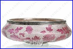 Coupe Art Nouveau aux dahlias par Saint-Louis. Art Nouveau bowl with dahlias