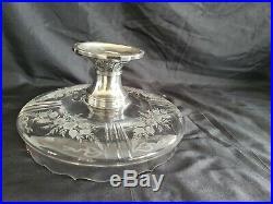 Coupe Centre De Table Cristal Gravé Fleurs & Pied St Louis XVI Argent Minerve