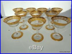 Coupe à Champagne pied ajouré Saint St Louis Cristal Thistle Or signé parfait