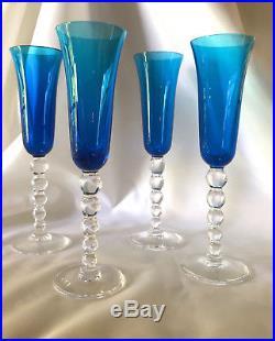 Cristal Saint Louis 4 verres à champagne Bubbles vintage