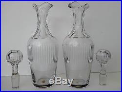 Cristal Saint-Louis Paire de Burettes Flacons Huilier Vinaigrier Cristal Taillé