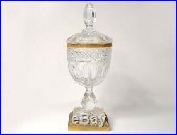 Drageoir coupe cristal taillé Baccarat St Louis bronze doré Empire XIXème