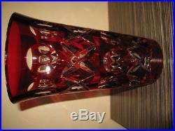 EXCEPTIONEL VASE ST LOUIS EN CRISTAL BLANC ET ROUGE TAILLE 30.5cm