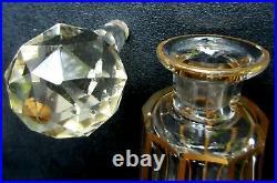 Ensemble de toilette, 3 flacons à parfum et un verre, cristal Saint Louis Or fin
