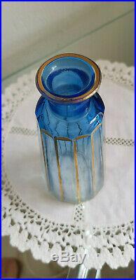 Ensemble toilette ART DECO de 3 flacons + pot à cotons Bleus Cristal SAINT LOUIS