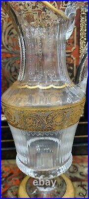 Exceptionnelle Pichet Aiguiere cristal doré a L'or cristal de Saint Louis