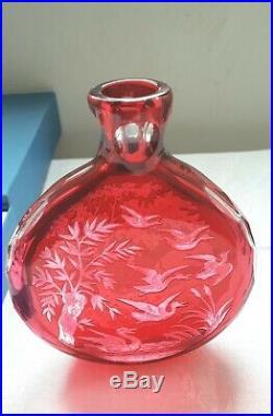 Fiole flasque St Louis cristal doublé scène de chasse St Louis flask hunting