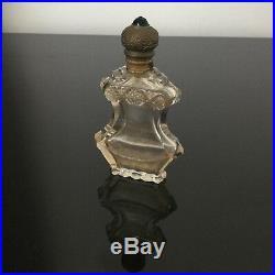 Flacon A Sels Cristal BACCARAT ST LOUIS Monture Laiton Strass Vert XIXè Crystal