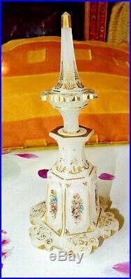 Flacon a parfum, epoque charles X. Opaline doré a l'or baccarat st louis19eme