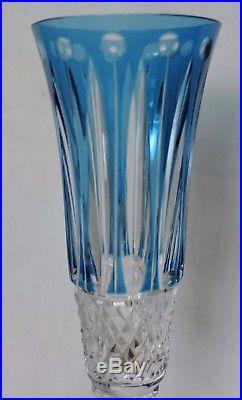 Flute A Champagne En Cristal De St Louis Tommy Estampille Couleur Bleu Clair