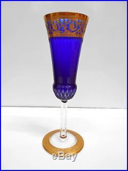 Flûte champagne cristal Saint-Louis bleu cobalt Thistle chardon