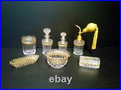 Garniture De Toilette 7 Pieces Cristal St Louis Decor Laurier Rehausse Or 1900