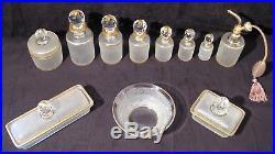 Garniture de toilette cristal Saint Louis onze pièces époque fin XIX ème siècle