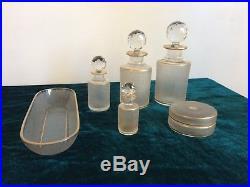 Garniture de toilette en cristal Saint Louis Flacon de parfum 1900 dorure ancien