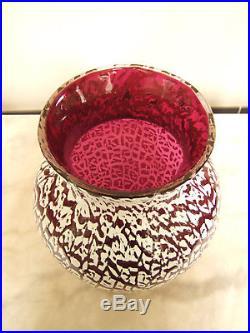 Grand vase en CRISTAL DE SAINT LOUIS, overlay et opaline