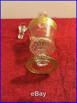 Grande carafe en cristal SAINT LOUIS décor or modéle THISTLE