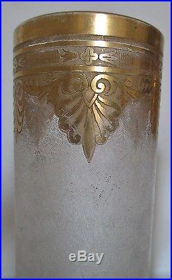 Grands Vases cristal Saint Louis gravé a l'acide, rehaut d'or, style Empire XIXe