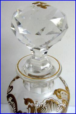 Gros flacon à parfum ou alcool cristal Baccarat Saint-Louis doré or fin Louis XV