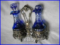Huilier vinaigrier cristal bleu Baccarra / St Louis argent! Ancien 1900