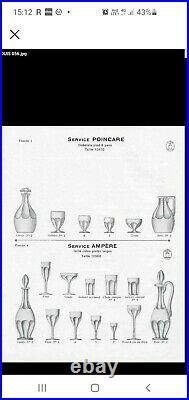 Jolie Serie De 6 Verres A Vin En Cristal De Saint Louis Poincare Art Deco