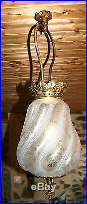 Lampe lustre verre gravé signé st saint Louis Napoléon old french glass cristal