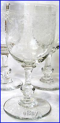 Verre à eau sur pied cristal gravé