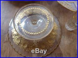 Lot de 9 pièces en cristal baccarat St louis autre dorés à la feuille d'or