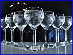 Magnifique 8 Verres A Vin En Cristal Grave Soufle Baccarat St Louis 1907