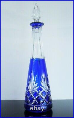 Magnifique Carafe En Cristal Double Couleur Modèle Massenet St Louis Art Deco