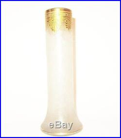 Magnifique Vase Saint Louis Baccarat Emaille Or Givre Grave A L'acide