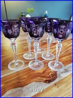 Magnifique série de 6 verre à pied en Crystal de saint louis