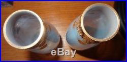 Paire de vase cristal St Louis bleu opalescent doré à l'or art nouveau