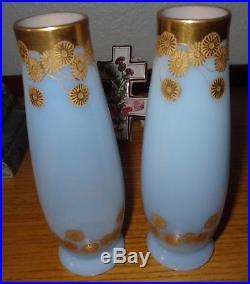 Paire de vases Cristal de Saint Louis bleu opalescent doré à l'or