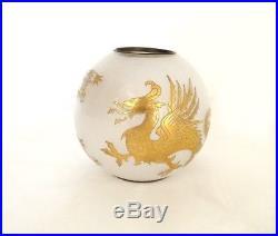 Petite boule lampe à pétrole cristal Saint-Louis dragons dorure XIXè siècle