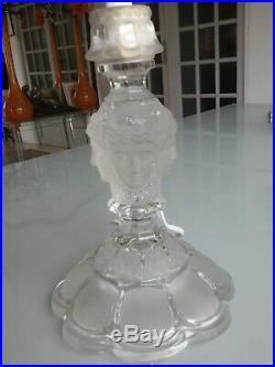 Pied De Lampe Cristal Givré Et Transparent En Cristal De Saint Louis Estampillé