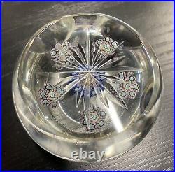 Presse Papier Sulfure Cristal Taille 7 Fenêtres Signé Saint Louis Paperweight