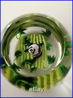 Presse-papier Saint Louis Signé Sl 2009 Panda Sur Bambous Paperweight