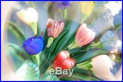 Presse-papier Saint-louis Bouquet Sur Fond Bleu Signé Sl 1988 Paperweight