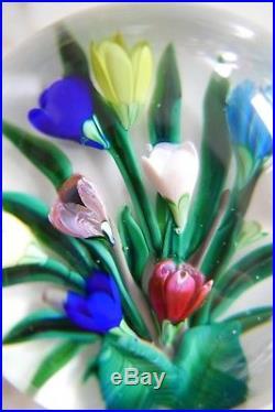 Presse-papier Sulfure Saint-louis Bouquet De Fleurs Signé Sl 1988 Paperweight
