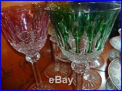 Quatre Superbes Verres Cristal Saint Louis Modele Thommy Rose Vert Bleu Jaune