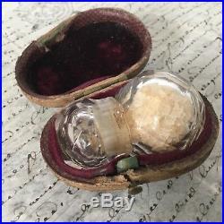 RARE Flacon A Sels Cristal ST LOUIS Début XIXè PALAIS ROYAL Ecrin Cuir Crystal