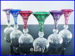 Rare 6 Verres A Vin Et Digestif Cristal Couleur Massenet St Louis Baccarat 1880