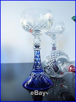 Rare 6 Verres A Vin Et Liqueur Réversible Cristal Couleur Massenet St Louis