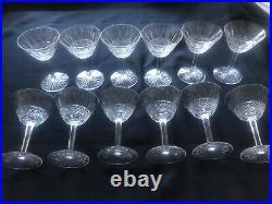 Rare Ensemble de 12 Verres à Pied Cristal Blanc SAINT LOUIS Modèle TOMMY