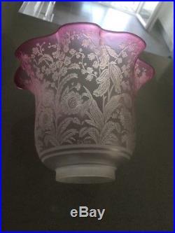 Rare Grande Tulipe Cristal Saint Louis Lampe Petrole