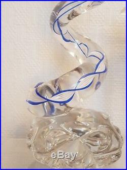 Rare Lampe cristal Saint Louis Paul Nicolas Art Verrier FORME spirale vers 1950