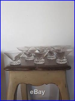 Rare Serie 8 Verres Coupe Champagne En Cristal De Saint Louis Pointe De Diamants
